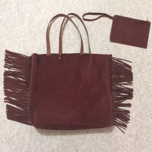 Suede leather tote and wristlet